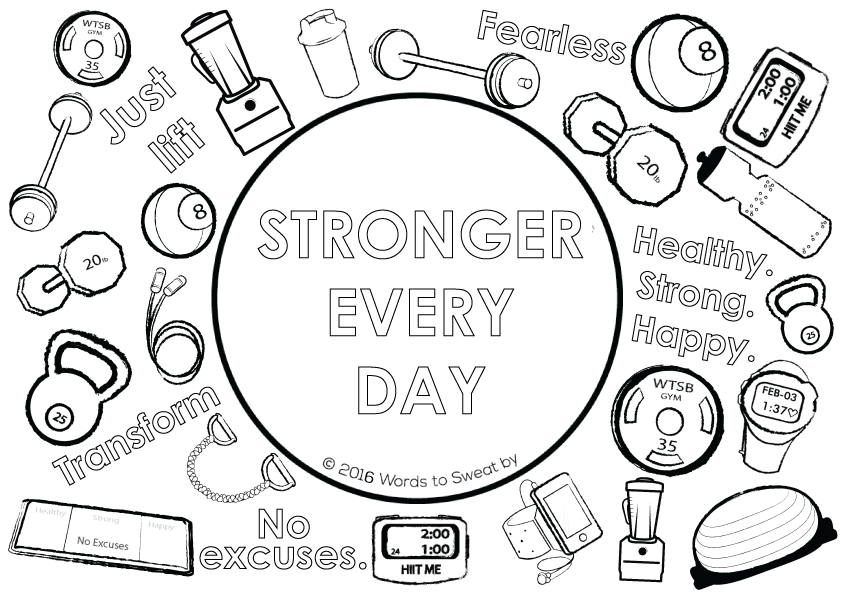 workout themed adult coloring page