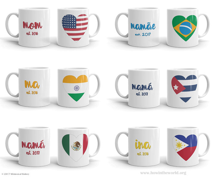 Grouping of mugs with country flags and the term