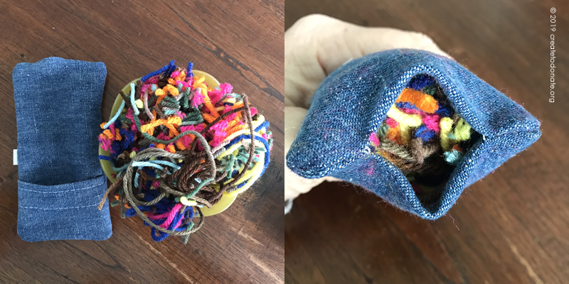 Yarn scraps for port pillow stuffing
