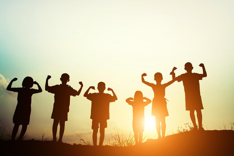 Children silhouette carry the future