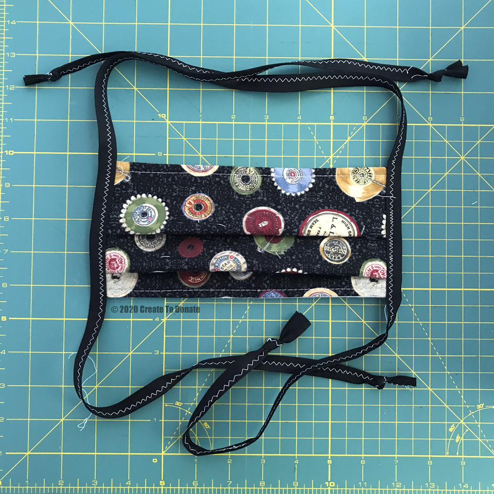 Finished Face mask with ties.