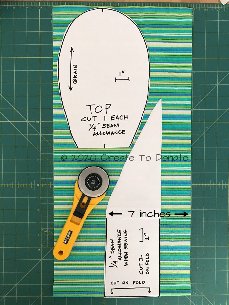 Cut out the free easy scrub cap pattern pieces.