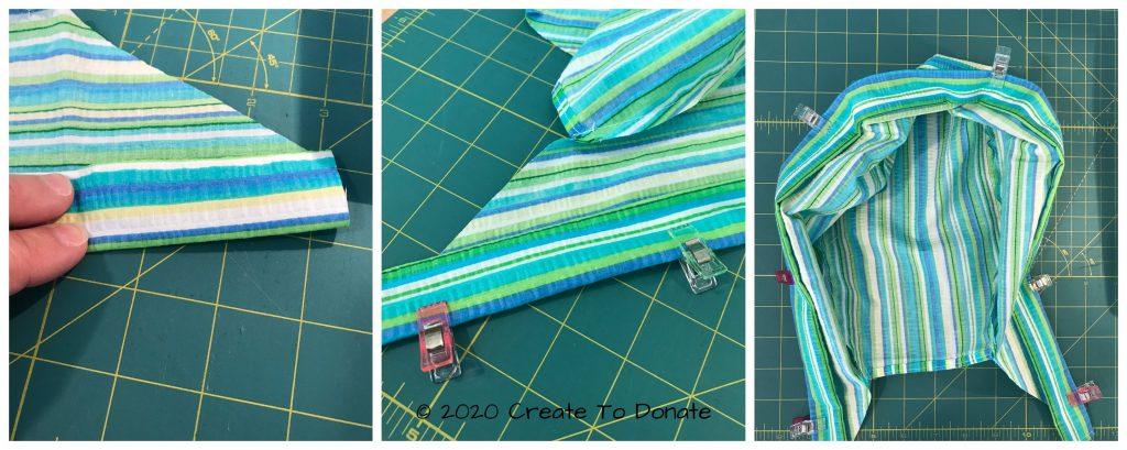 Finish the bottom edge of the free scrub cap pattern