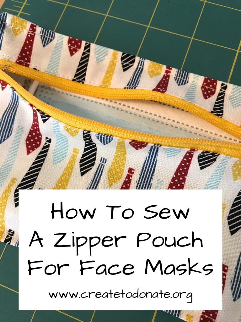 How to sew a zipper pouch for storing face masks.