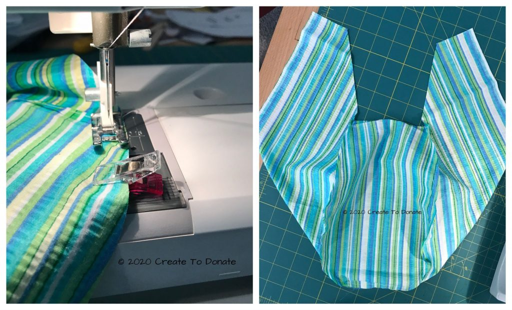 Sew the scrub cap pieces together.