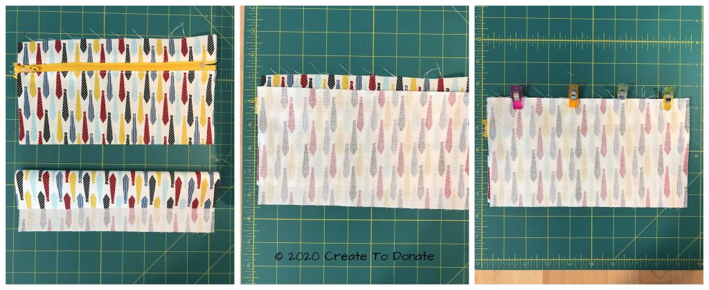 Sew the zipper pouch back piece to front piece.