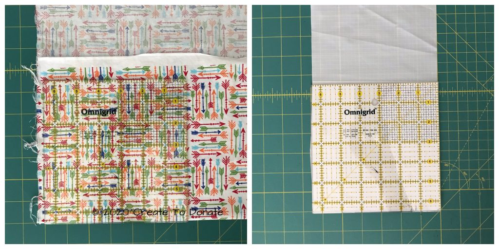 Cut the fabrics to size before you sew a reusable snack bag.