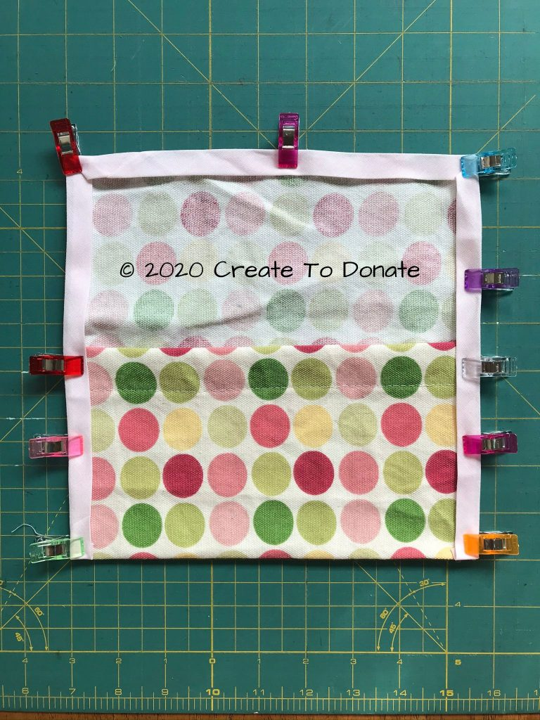 Place bias tape around carry pouch edges