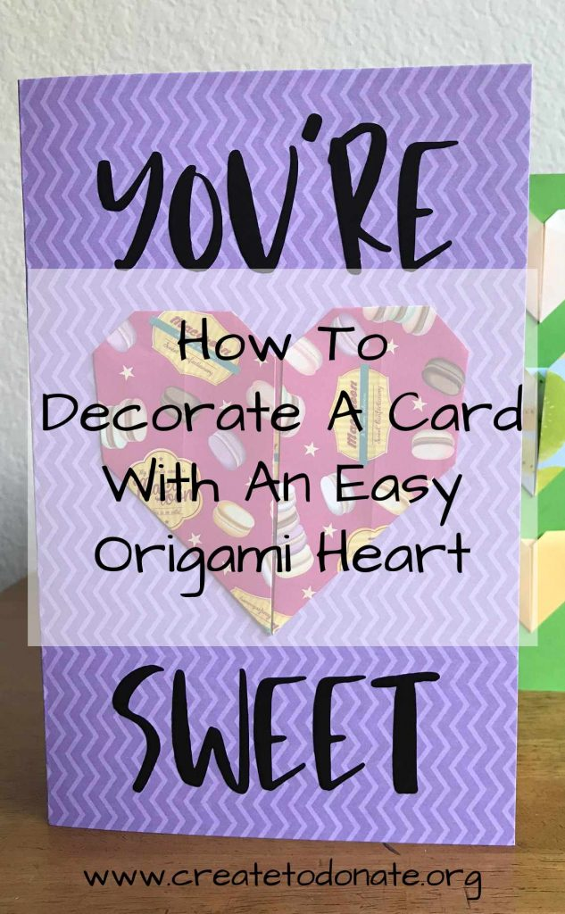 Easy origami heart handmade card PIN