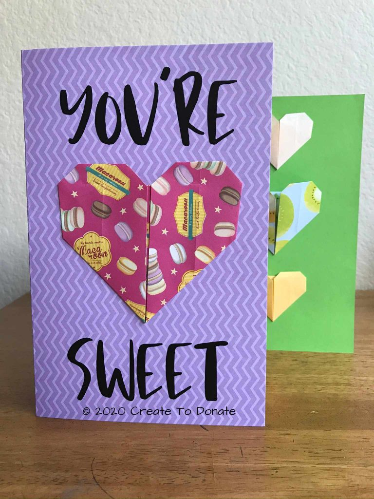 Finished origami heart card Create To Donate