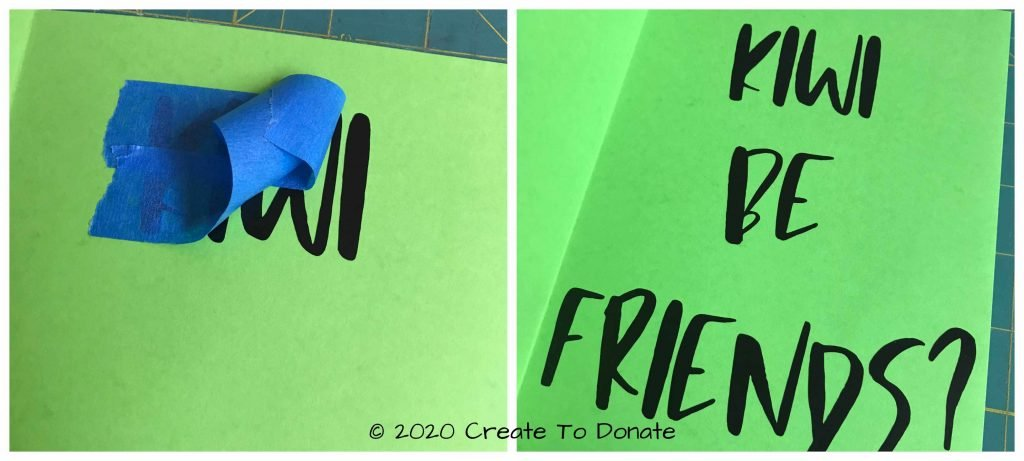 Place vinyl text onto the card Create To Donate