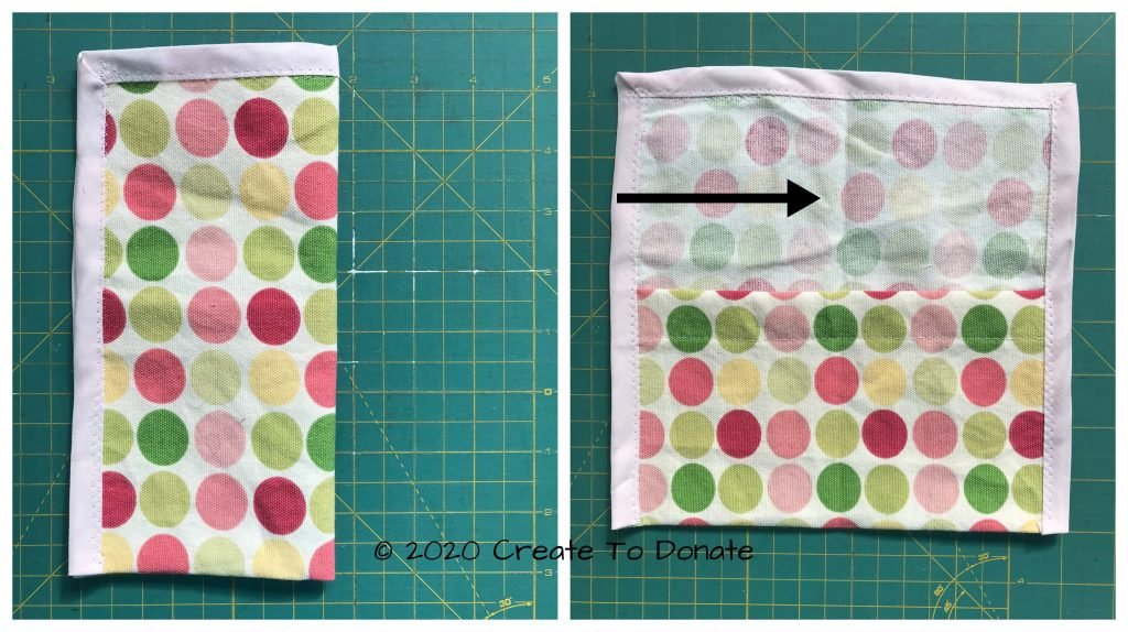 Fold in half to crease center of pouch
