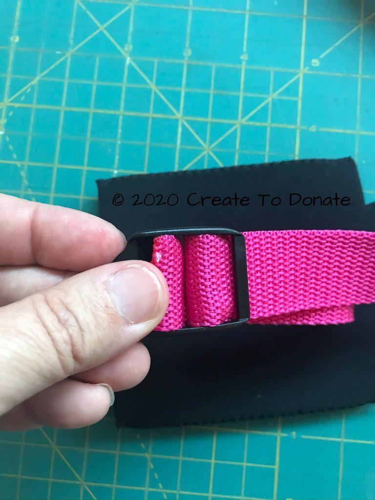 Threaded webbing for adjustable mastectomy drain bag holder