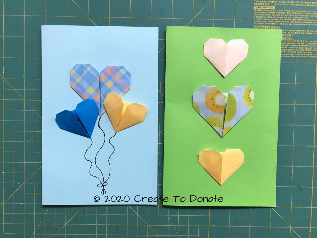Origamie heart card examples of sizes