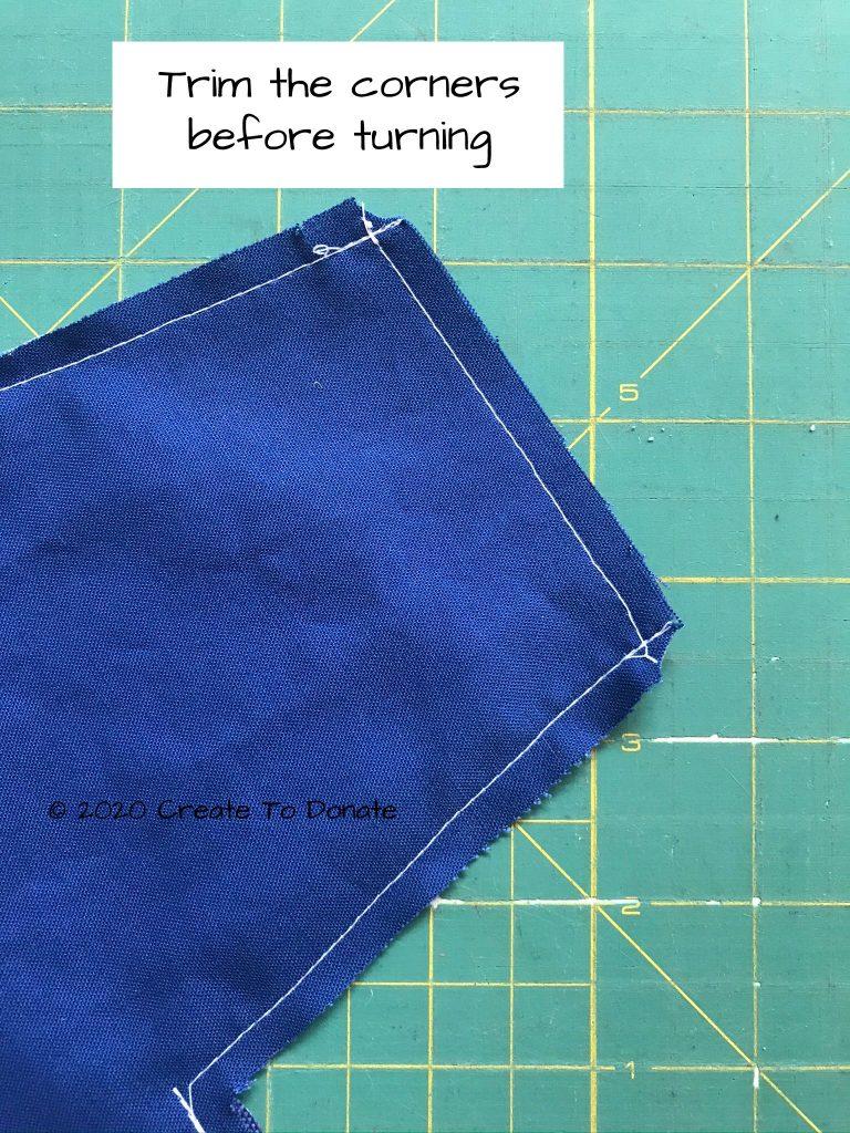 Trim envelope wallet corners before turning