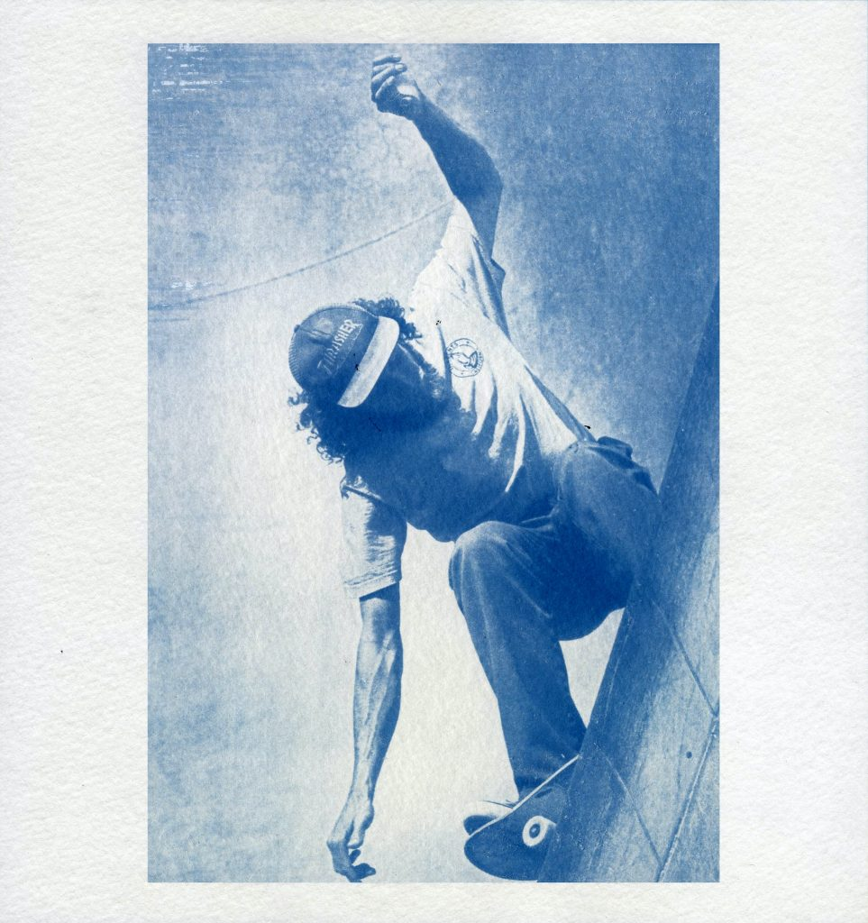 Cynaotype photograph of skateboarder