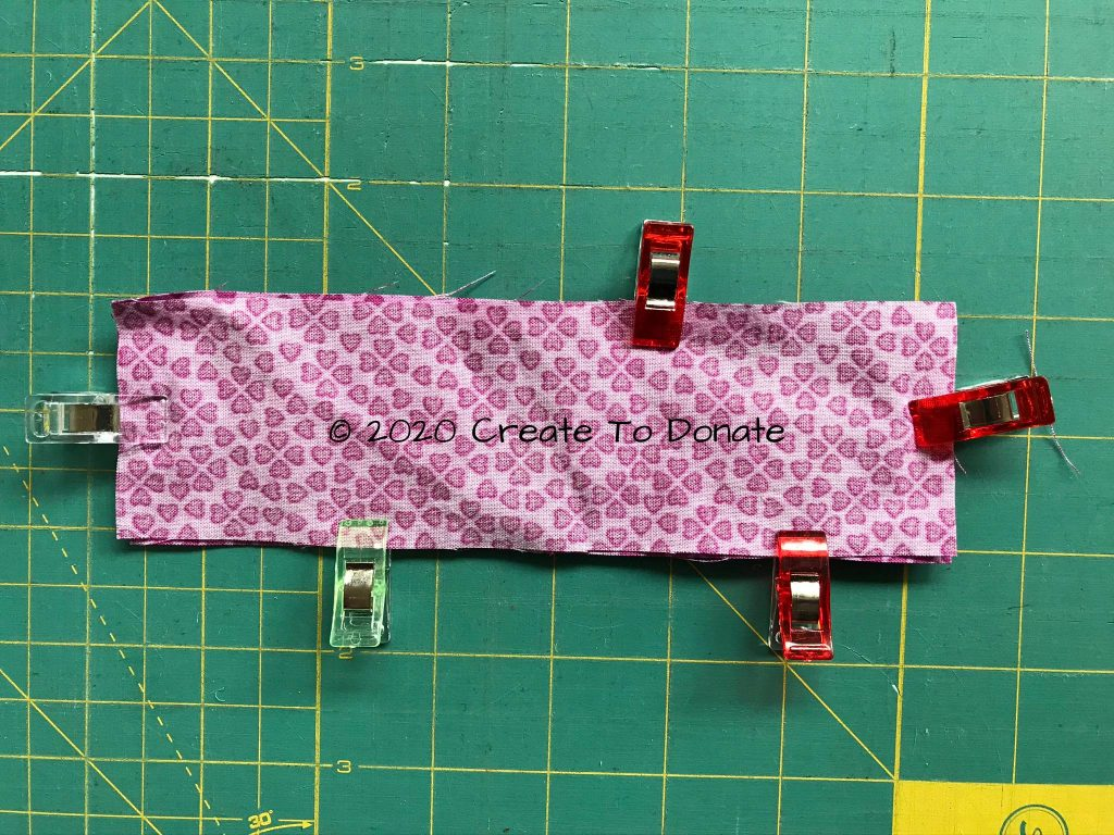 Fabric right sides together clipped
