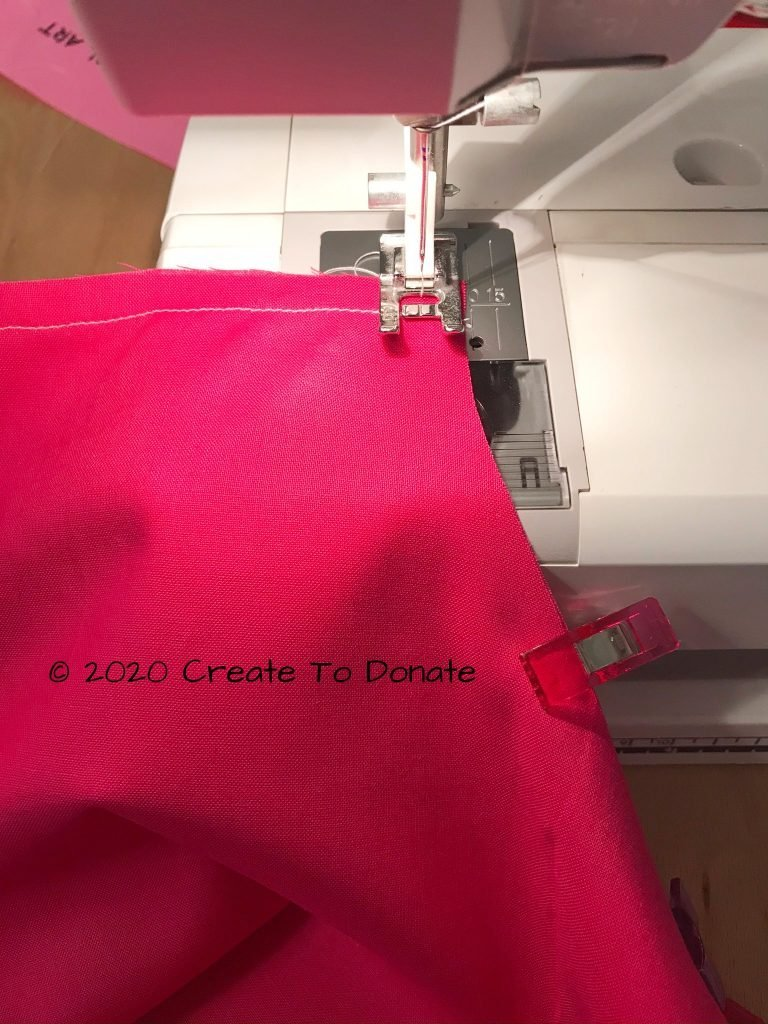Sew the top of the pillow together