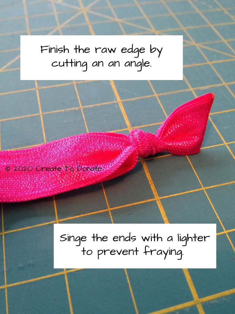 Singe ends of elastic to prevent fraying