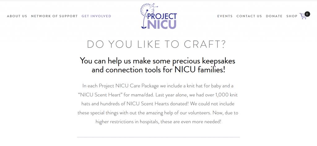 Donate handmade crafts to Project NICU
