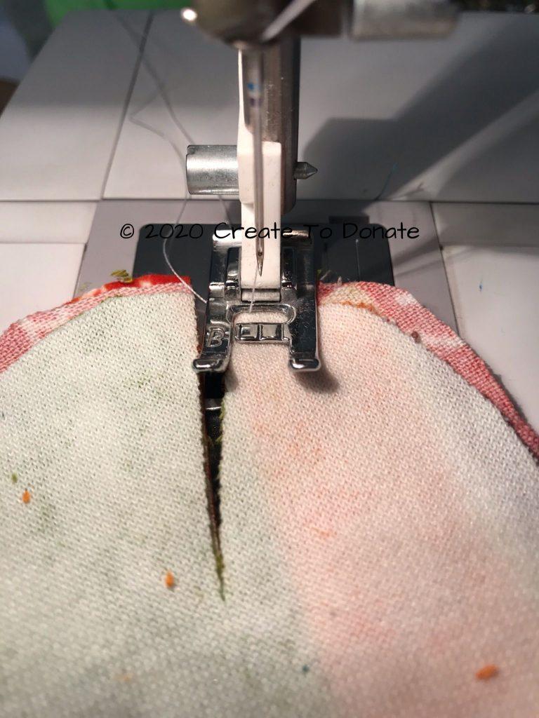 Sew inside edges with quarter inch seam allowance