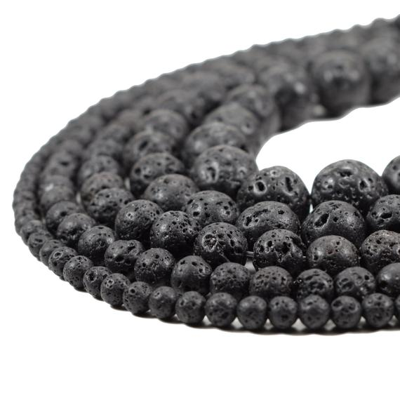 Natural Lava Beads Full Strand 15.5 inch Round Black | Etsy