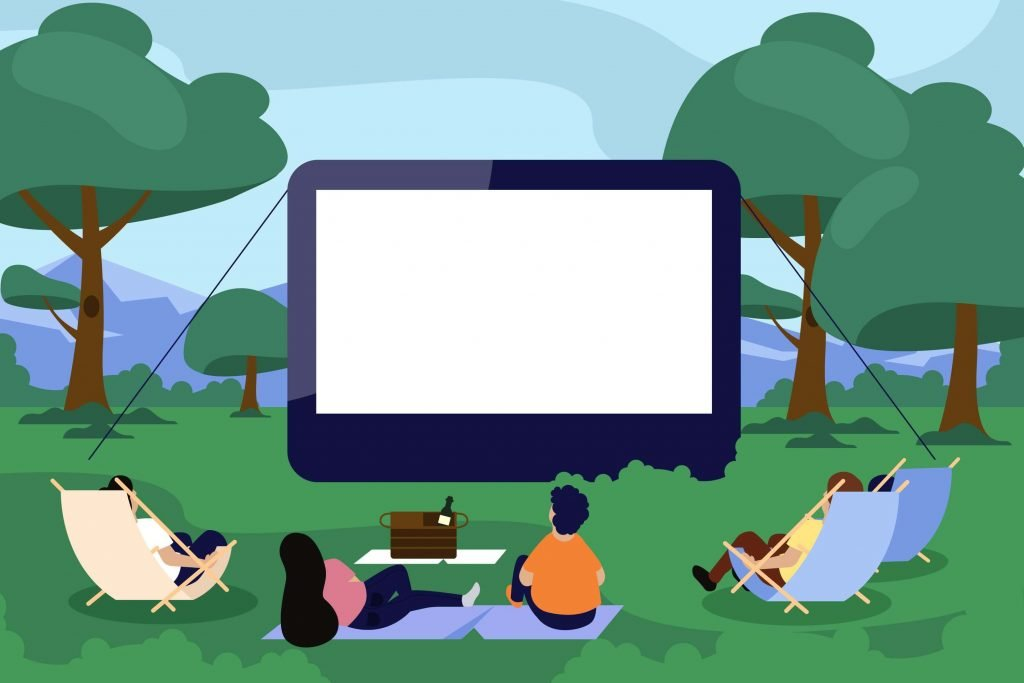 Graphic of people watching an outdoor movie which is the possible idea for a baseball silent auction basket.