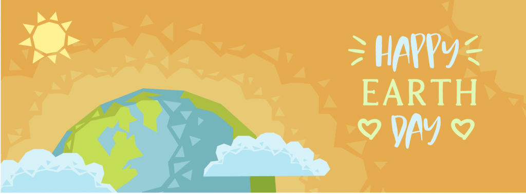 Celebrate Earth day 2021 graphic with sun, clouds, and a sun.