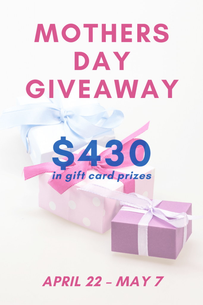 2021 Mother's Day Giveaway graphic with a present and information about the giveaway.