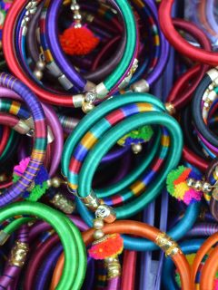 Colorful bracelets to promote donating accessories to foster care focused nonprofits.