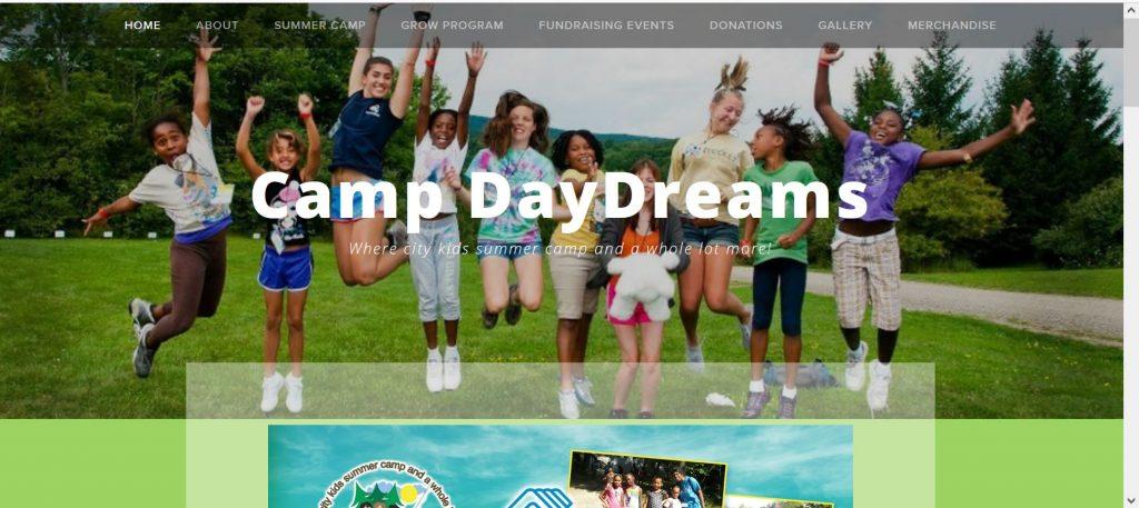 Camp DayDreams website homepage image.
