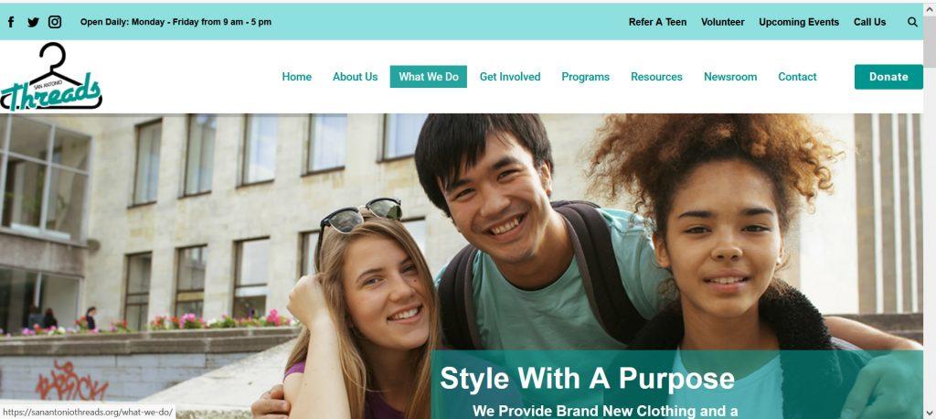 Nonprofit for teens San Antonio Threads webpage.