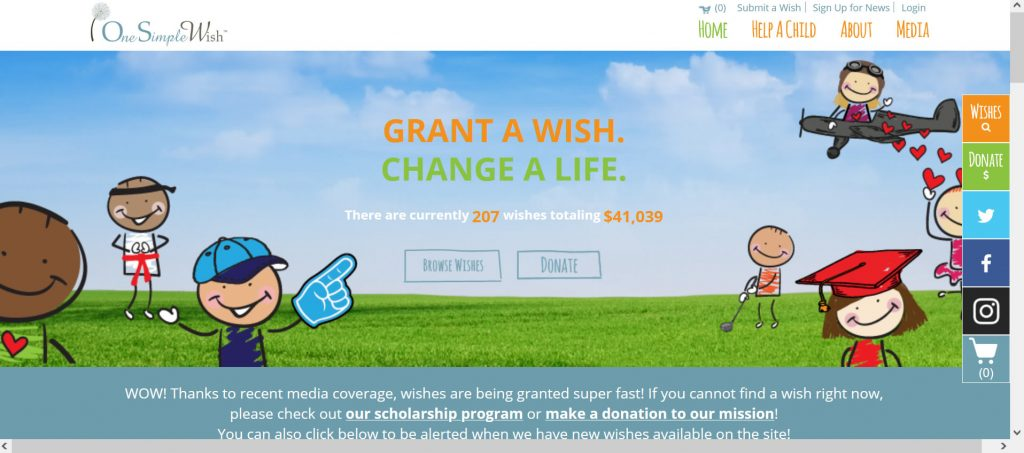 Nonprofit for kids One Simple Wish homepage.