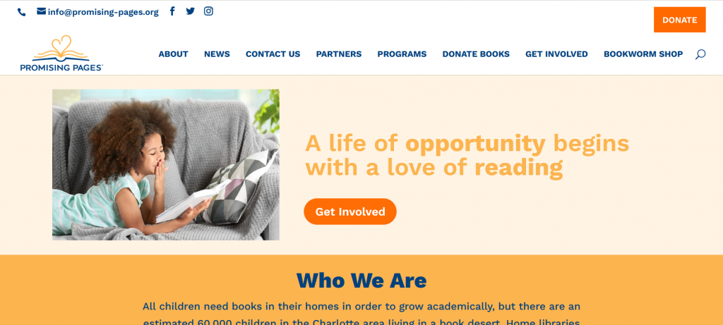 Promising Pages needs donated books. The image showcases the homepage of Promising Pages in Charlotte, NC.