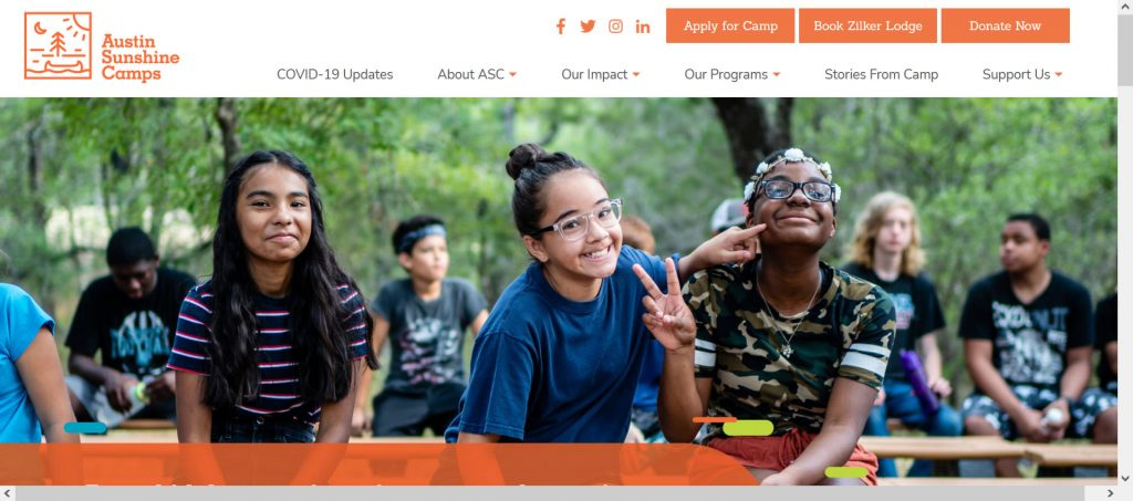 Image of Sunshine Camps Austin website homepage to showecase nonprofits for children.