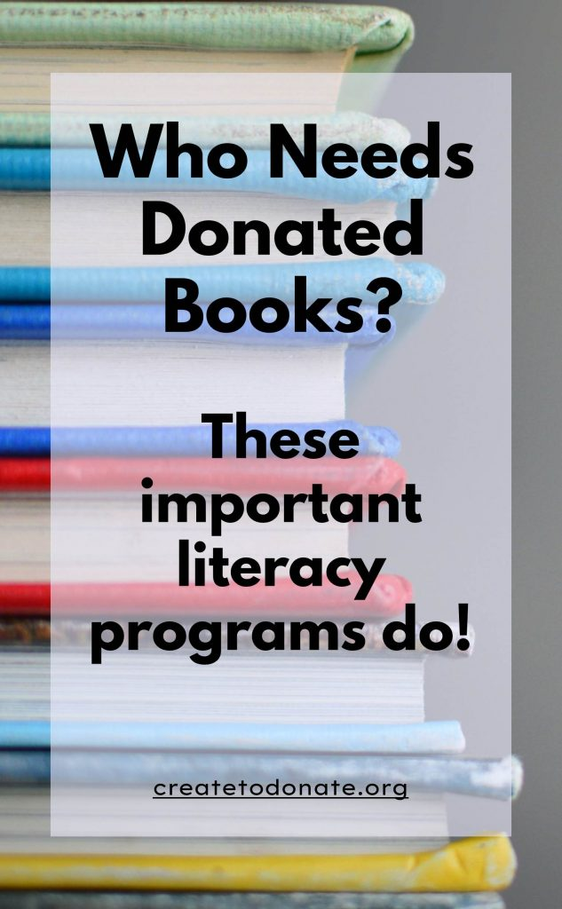 Stack of books with text overlay that asks who needs donated books.