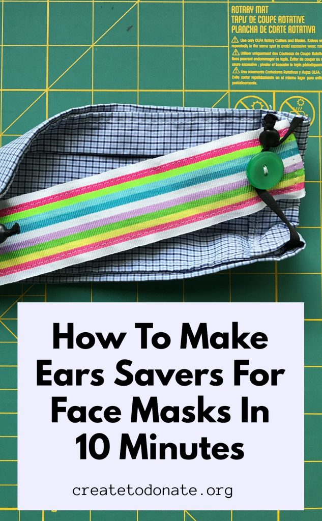 Ear savers for a face mask made from ribbon and buttons with a face mask in the background.