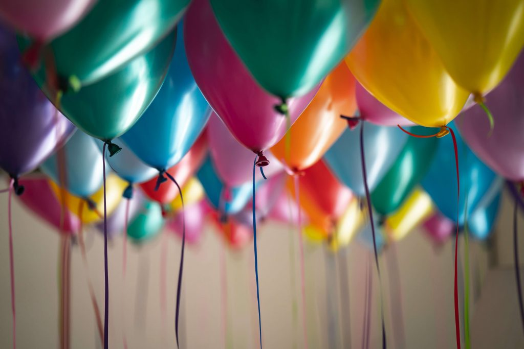 Colorful balloons in the air.