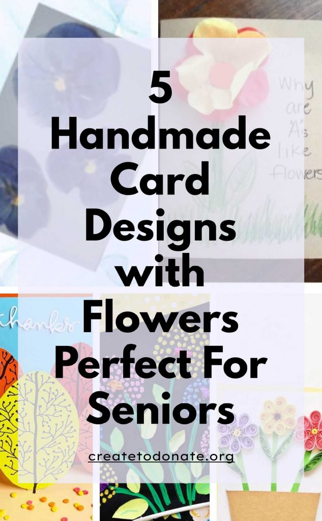 Pinterest image with various handmade card designs with flowers.